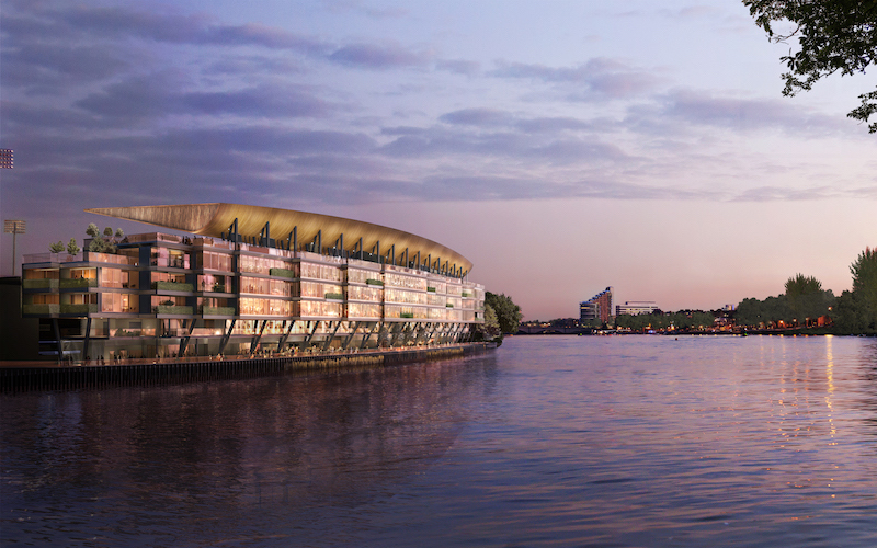 Riverview of the Riverside Stand Renovation at Fulham FC's Craven Cottage