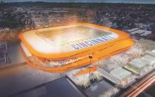 Aerial Rendering of the New Stadium for FC Cincinnati. Image Courtesy of MEIS.